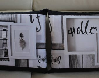Sold individually in black and White City pillow cover / butterflies/Hello/ampersand