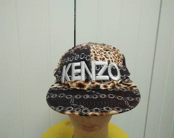 Rare Vintage KENZO Full Printed Cap Hat Free size fit all