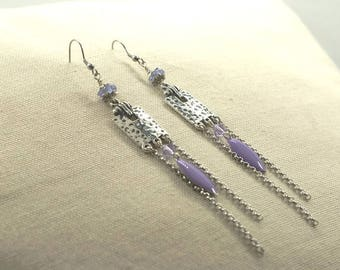 Contemporary style, silver, earrings Lampwork and swarovski crystal beads