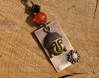 "Necklace with copper Medallion riveted ""Buddha"", Carnelian, bronze, beige"