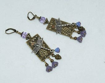 Embossed brass earrings, dragonfly and swarovski crystal, designer jewelry