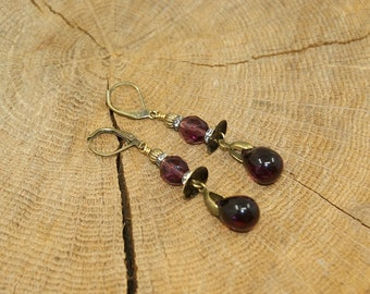 Antique bronze brass tcheqe plum crystal earrings