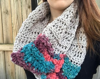 Chunky, Soft Handspun Yarn Cowl, Crochet Loop Scarf, Colorful Fall Accessories, Gray / Purple / Blue
