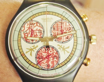 Rare Red Swiss 1996 Atlanta Olympics Swatch Papiro Chronograph 100m Quartz Watch Boxed Near Mint