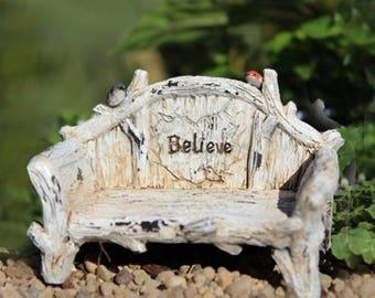 Believe Bench - miniature enchanted fairy garden