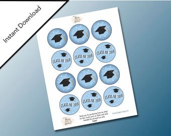Blue Color Circle Graduation Printable Gift Tags, Hats off to the Graduate, Blue School Colors, Graduation Party Favors, Class of 2018 Tags