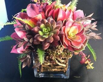 Purples and pinks succulent cube arrangement