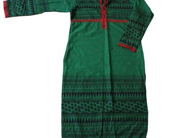 Green Tunic Top Printed Fabric Long Kurti Women Evening Wear Kameez Stitched Fabric 100% Cotton Dress Kameez Free Shipping
