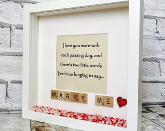 Marry Me Gift, Marriage Proposal Frame, Personalised Marriage Proposal Gift, Marry Me Scrabble Frame, Marry Me Poem, Marry Me Gift Frame