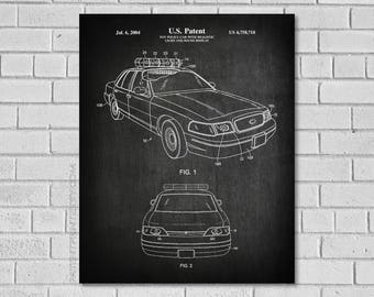 Police Car Patent Print - Cop Car - Cop Blueprint,Police Officer Gifts, Police Car Art - Policeman Print,Patent Print,Police Car Decor,CP718