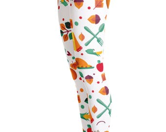 Thanksgiving Leggings - Pumpkin Costume - Halloween Costume - Fall Leggings - Thanksgiving Costume - Turkey Leggings - Thanksgiving Theme