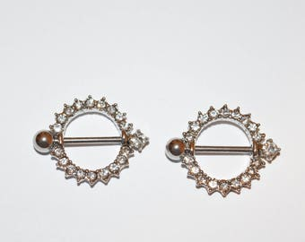 White/Clear Circle Nipple Rings, Clear Crystal Nipple Piercing, Nipple Rings, Nipple Studs, Crystals