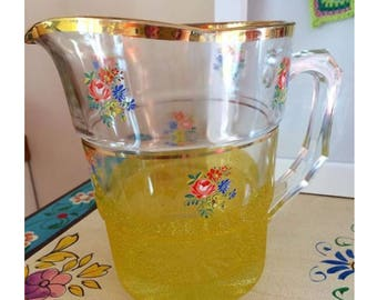 Vintage Floral Chunky Glass Jug