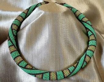 crochet necklace, beaded necklace women's handmade, beaded crochet necklace, geometry necklace
