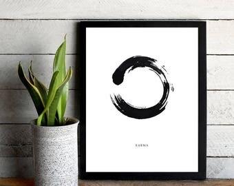 Karma, Printable, Scandinavian Wall Art, Karma Print, Zen Wall Art, Minimalist Wall Art, Black & White Print, Meditation Print