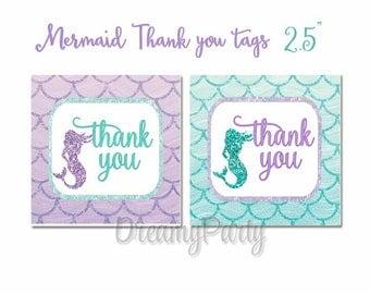 Mermaid Thank You Tags, Mermaid Favor Tags, Mermaid Baby Shower, Under the Sea, Mermaid Birthday Tags, Aqua and Purple, Digital File.