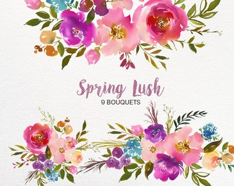 Spring Lush Watercolor Floral Clipart Collection PNG Pink Purple Turquoise Flowers Green Leaves Bouquets  DIY Wedding Invitations Nursery