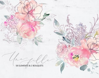 Une Fille Pink Purple Watercolor Flowers Line Botanical Elements Floral Bouquets  Peonies Clipart Wedding Clip Art Hand Painted PNG Graphics