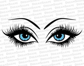 Eyes SVG Cutting Files, Eyes Eyelash DXF Cut Files, Seeing Eyes SVG Files, Pair of Eyes Cricut Svg File, Eyelashes Svg File Instant Download