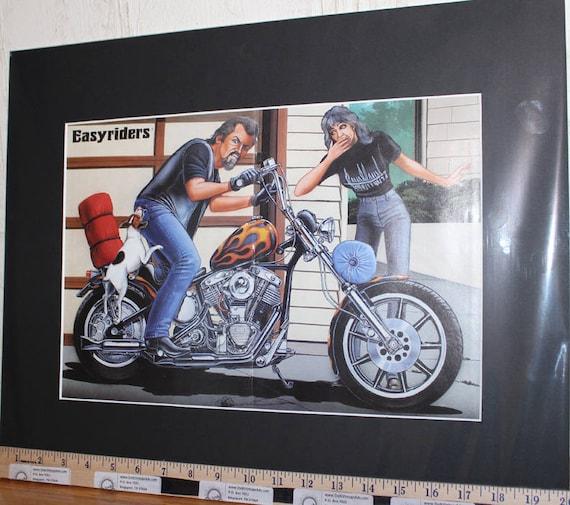"David Mann ""Down, Spot, Down"" 16'' x 20'' Matted Biker Art #9710ezrxmb"
