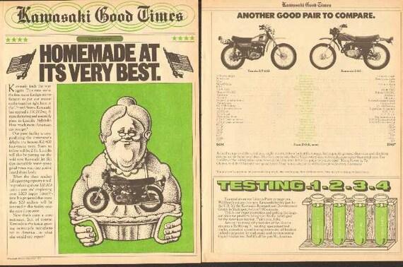 1975 Kawasaki Good Times News Motorcycle 4-Page Ad #nai05