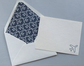 Airplane Note Cards - Traveler Stationery - Pilot Gift - Set of 10 Cards and Lined Envelopes - Navy and White Airplanes