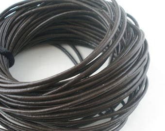 Black 3 mm round leather cord 1 m