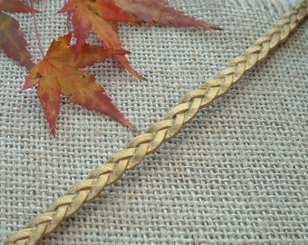50cm of width 14mm gold color braided leather cord