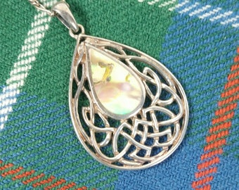 Celtic Weave Sterling Silver Necklace Abalone Shell Inlay