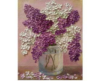 Purple and White Lilac in a Glass Bowl Original oil impasto painting No.04-57 ready to hang