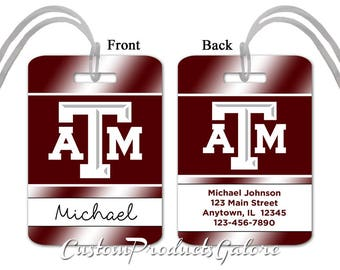 College Luggage Tag, Texas A&M, Personalized Luggage Tag, Suitcase Bag Tag, Fun Luggage Tag