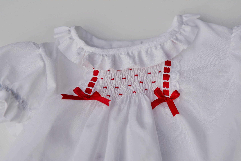 White smocked dress Christmas dress Smocked Christmas dress Baby