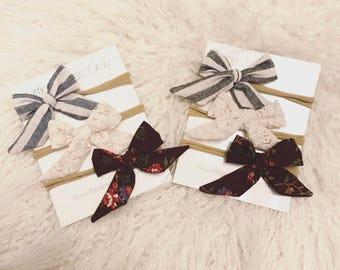 Sailor bows, little bows, baby girl headband, hair clip