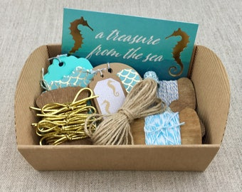 Mermaid Summer DIY Gift Wrap Set, 35+ pcs,  Under the Sea , Seahorse Gift Tags, Green & Blue Bakers Twine, Natural Jute Twine, Nautical