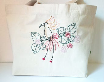 Organic thick cotton embroidered Tote Paradisier