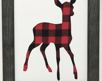 "11x14 1.75"" Rustic Black Frame with Doe Baby Deer and Buffalo Plaid"