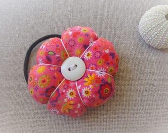 Elastic flower elastic big flower elastic pink elastic fabric - ninette barrettes
