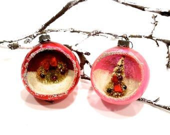 VINTAGE: 1950's - 2 Early Japanese Indent Diorama Mercury Glass Ornaments - Christmas Ornaments - Maid in Japan - SKU TUB-409-8806