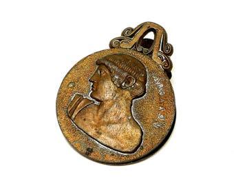 VINTAGE: Mid Century Cast Metal Ancient Greek Coin Paper Clip Souvenir - Greece - SKU 14-A1-00010013