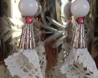 White vintage crochet lace earrings