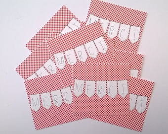Set of 12 cartelettes thank you banner and Red checkered