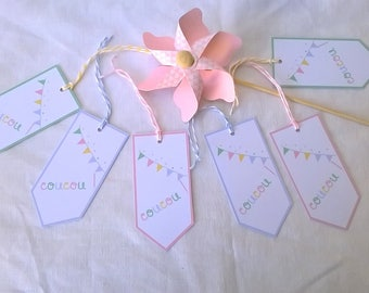 "Six pastel tags ""peekaboo"" three colors"
