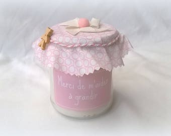 Candle thank customizable pink deco nanny