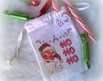 Mini bag fabric Christmas Santa HO HO HO