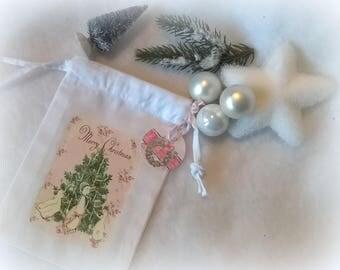 Mini bag fabric Christmas tree pastel retro image geese