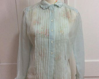 1940/50's  Vintage Baby Blue Sheer Blouse