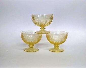 Hazel Atlas Florentine Poppy #2 Yellow Sherbet Glasses – 3,Dinnerware,Tableware,Kitchenware
