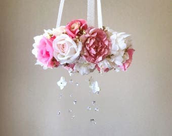 Nursery mobile, Baby mobile, Floral mobile, Flower mobile, Swarovski, Artificial silk peonies, Coral and creams, Floral boho decor