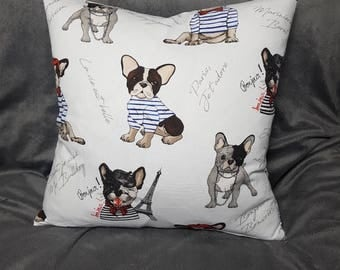 French bulldog cushion cover, frenchie cushion, bulldog pillow, french bulldog, french accent, dog pillow, dog cushion, french pillow