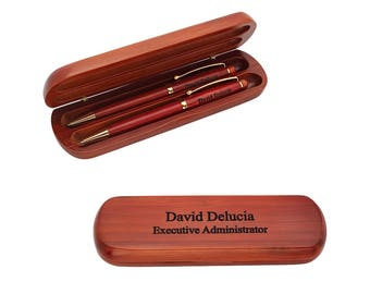 Personalized Cherry Wood Pen and Pencil Gift Set - Custom Engraved Pen and Pencil Set - Wooden Writing Set - Graduation Gift